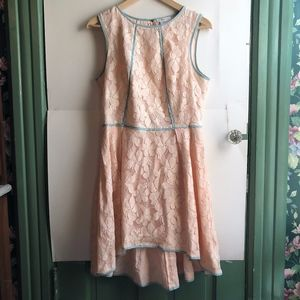 ESLEY Light Baby Pink Floral Lace Fit Flare Dress